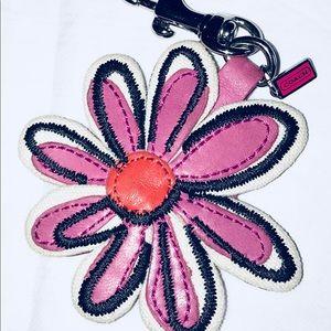 Coach Leather Flower Purse/Keychain Fob w/hangtag